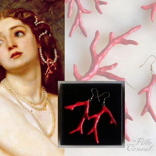 La fille du Consul - Demain sur le blog, des coraux rouges. J'ai demandé à Edward Poynter de me faire de la pub, vraiment sympa le gars!  Tomorrow on the blog, I'll show you red coral jewelry. I asked Edward Poynter to work for me, he is really a nice guy! #lafilleduconsul #bijoudartiste #artistjewelry #bouclesdoreilles #earrings #siren #sirene #corail #corailrouge #rouge #rougecorail #coral #redcoral #edwardpoynter #talisman #nocesdecorail #portebonheur