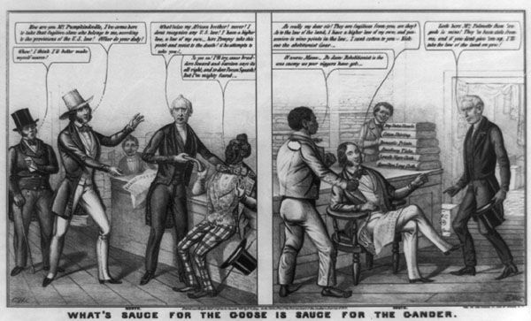 """Print by E. W. Clay, an artist who published many proslavery cartoons, supports the Fugitive Slave Act of 1850. In the cartoon, a Southerner mocks a Northerner who claims his goods—several bolts of fabric—have been stolen. """"They are fugitives from you, are they?"""" asks the slaveholder. Adopting the rhetoric of abolitionists, he continues, """"As to the law of the land, I have a higher law of my own, and possession is nine points in the law."""""""