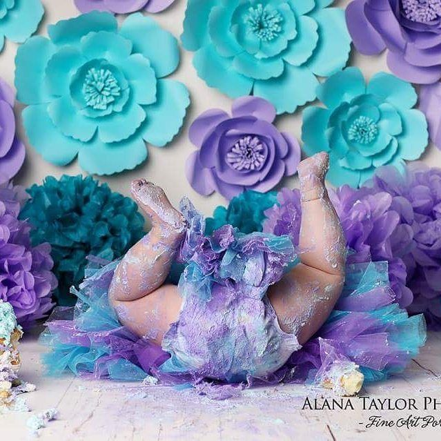 Omg These setup and proffessional work done by Alana Taylor Photography using our paper flowers And this little princess so cute