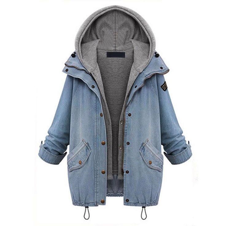 Lisli 2pcs Women Blue Zip Up Denim Jacket Coat Outwear with Cotton Hoodie Vest (4-6)