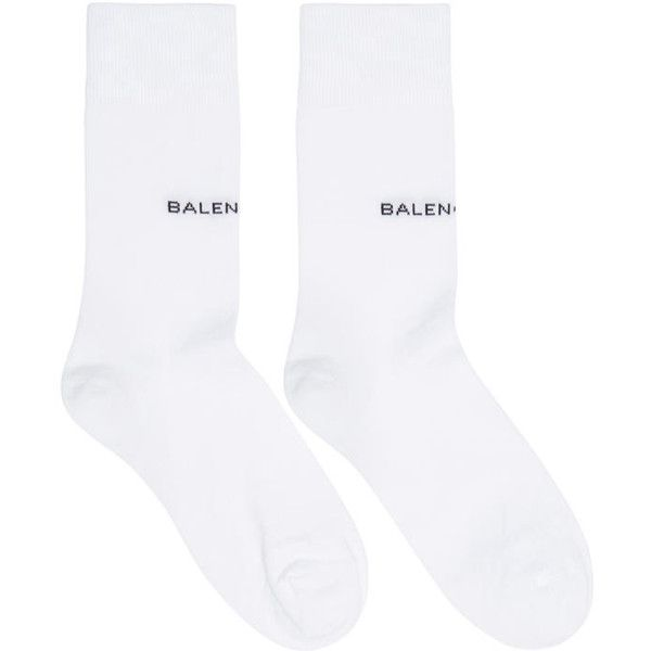 Balenciaga White Logo Socks ($105) ❤ liked on Polyvore featuring intimates, hosiery, socks, white, white hosiery, cotton socks, balenciaga, white socks and white cotton socks