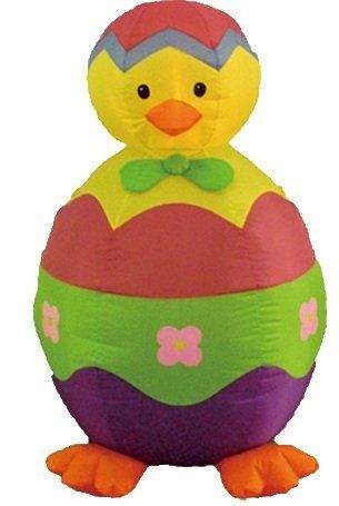 4 Foot Easter Inflatable Chick and Egg by BZB Goods. $49.00. Deflates Back Down for Easy Storage. Inflated Size Measures (L x W x H): 30 x 28 x 48 inches. Self Inflates in Moment & Lights Up. Great Decoration for Indoor and Outdoor; Easy Set Up. Everthing Included: Inflator Fan, Ground Stakes and Tethers. 300006 Easter inflatable is sure to bring delight to children and adults alike. Don't think about where you are going to store it until next Easter. Once deflated,...
