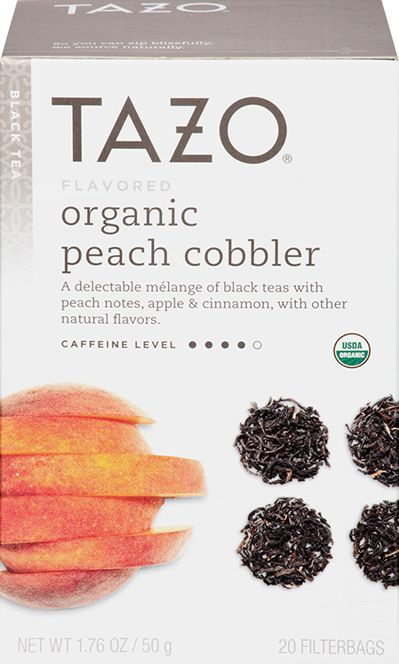Tazo Organic Peach Cobbler Black Tea | A delectable melange of black teas with peach notes, apple and cinnamon, with other natural flavors. | It's summertime in here. Nap-in-the-grass, forget-where-your-shoes-are, peach juice-running-down-your-chin, pie-a-la-mode summertime. Steep yourself in the decadent sweetness of organic black teas (and worry about finding your shoes later).