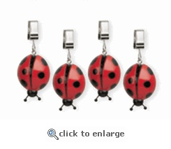 Ladybug Tablecloth Weights - cute idea rather than using dirty rocks