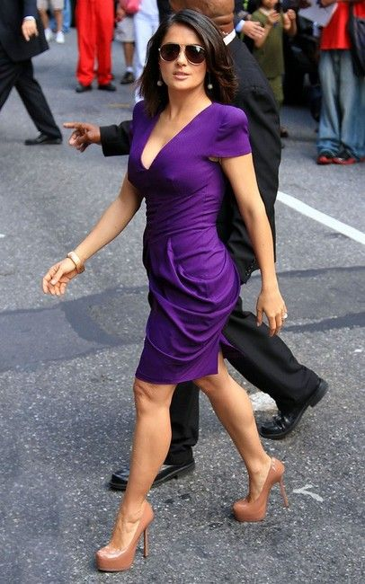Purple Dress Salma Hayek Looks Dresses Day Purple