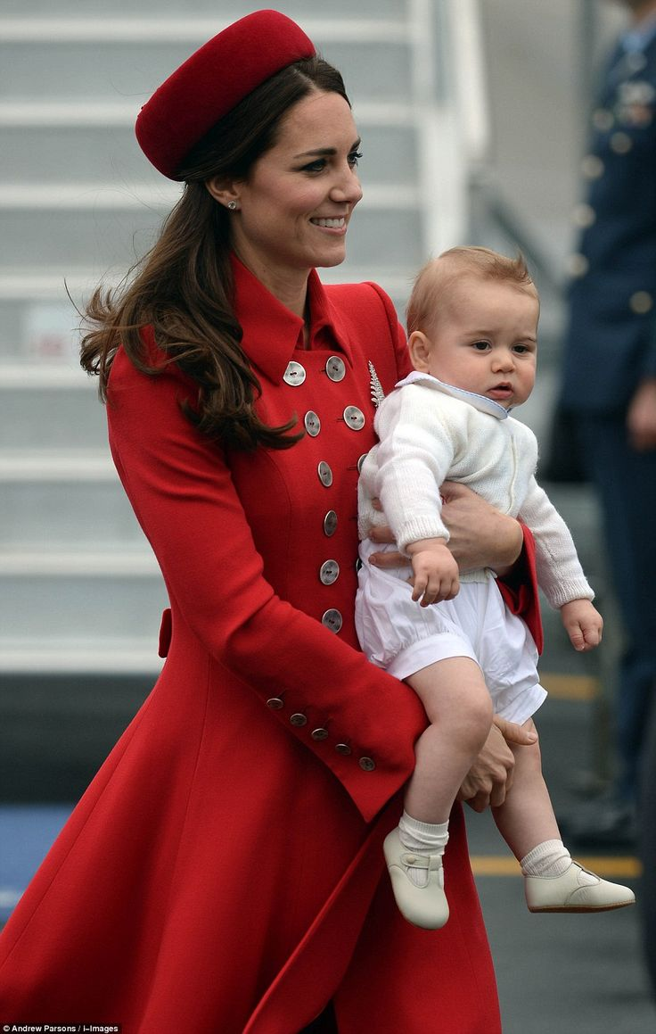 Touch down: The Duke and Duchess of Cambridge arrived earlier in the day with baby Prince George to begin their tour of New Zealand and Australia.Red Catherine Walker & Gina Foster Hat for the Duchess of Cambridge as the Royal Tour Officially Begins. 4/7/2014