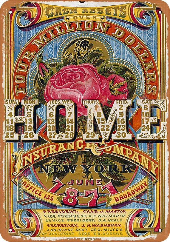 1871 Home Insurance Company Vintage Look Metal Sign In 2020 Home
