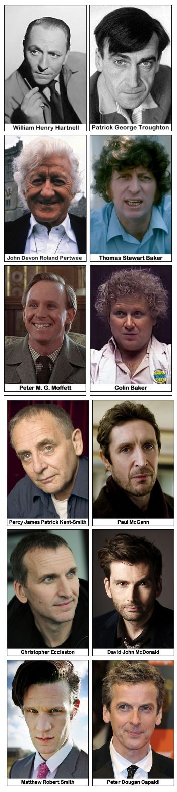 The actors of the Doctor and their given names. (look at how handsome and young Hartnell is in this pic)