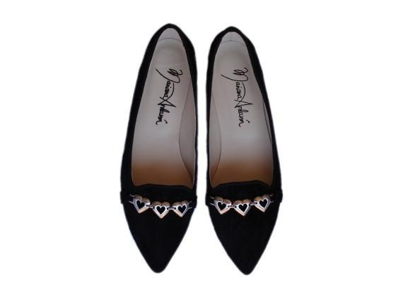 NEW Black suede flats with hearts womens by MarianaArdavinShoes, $106.50