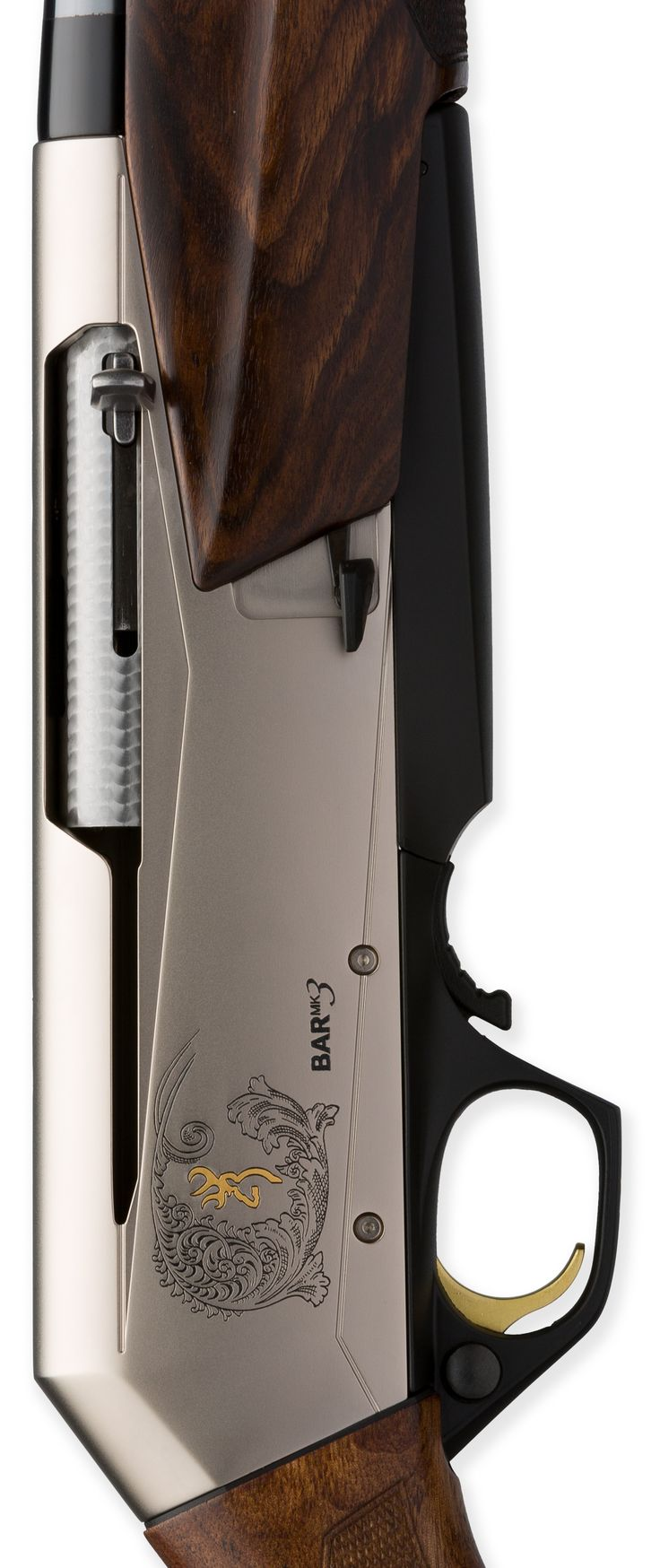 Browning BAR MK 3 Autoloader with traditional walnut stock, polished blued steel barrel, engraved alloy receiver, Inflex recoil pad MSRP $1,240