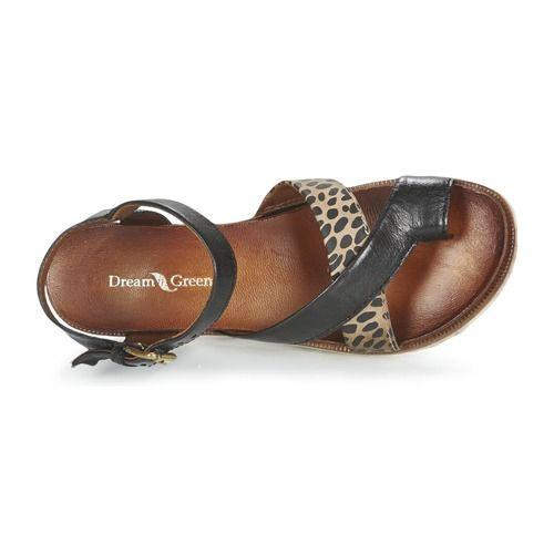 Zo mooi als deze sandaal in de kleur zwart van Dream in Green vind je nergens! De leren sandalen zijn voorzien van synthetische zolen en maken je look heel modieus af. Je kunt de verleiding van deze comfortabele schoenen met leren binnenvoering en leren binnenzool niet weerstaan! Een comfortabel model. Wat wil je nog meer! - Kleur : Zwart - Schoenen Dames € 63,70