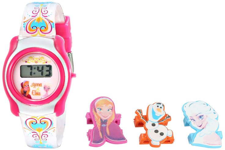 Disney Kids' FNFKD006 Frozen Watch with Interchangable Characters in a Gift Tin. Frozen watch with digital display featuring interchangeable character faces and a complimentary gift tin. 26 millimeters plastic case with plastic dial window. Quartz movement with digital display. Plastic band with box-with-tongue-and-safety-clasp closure. Not water resistant.