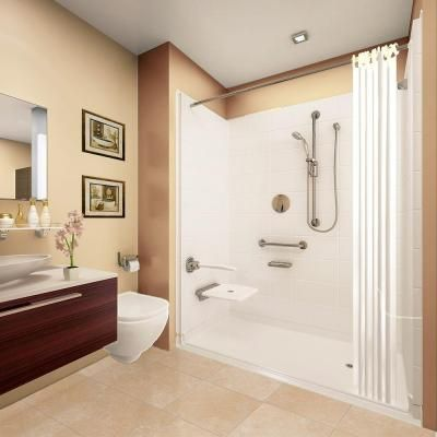 Ella Elite Brilliant 37 in. x 60 in. x 77-1/2 in. 5-Piece Barrier Free Roll In Shower System in White with Right Drain-6036 BF 5P 1.0 R-WH ELB at The Home Depot