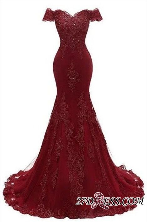 Great Gorgeous Burgundy Prom Dress  2019 Mermaid Lace Evening Gowns BC0656 Item Code: …