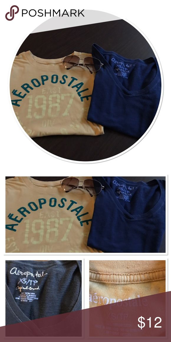 Bundle Aeropostale Tee Shirts Two Tees Navy Original Brand Gold Tee with 1987 NYCA there is some fading in the Print Aeropostale Tops Tees - Short Sleeve