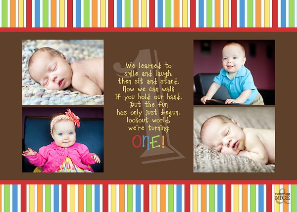 Twin Collage 1st Birthday Photo Invitation Wording M M Party
