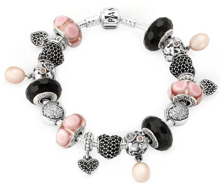 PANDORA Bracelet with Clever Pink and Black Combo. Love the Dangle Charms.....