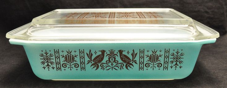 Super Rare VTG Pyrex Promotional Gold Birds Turquoise 575-B Casserole w Lid - This is up to $3,194.00 on Ebay!