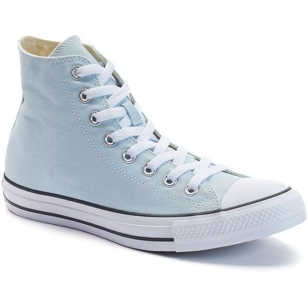 Women's Converse Chuck Taylor All Star High-Top Sneakers (£46) ❤ liked on Polyvore featuring shoes, sneakers, light blue, round toe sneakers, converse high tops, hi tops, lacing sneakers and converse sneakers