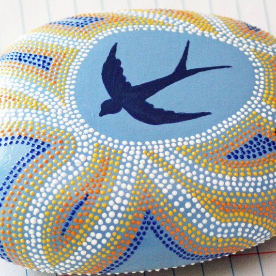A Blue Swallow Painted Dot Rock by JandEDesigns on Etsy, $60.00