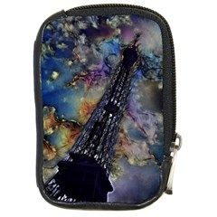Vintage Eiffel Tower Abstract Compact Camera Leather Case by bloomingvinedesign