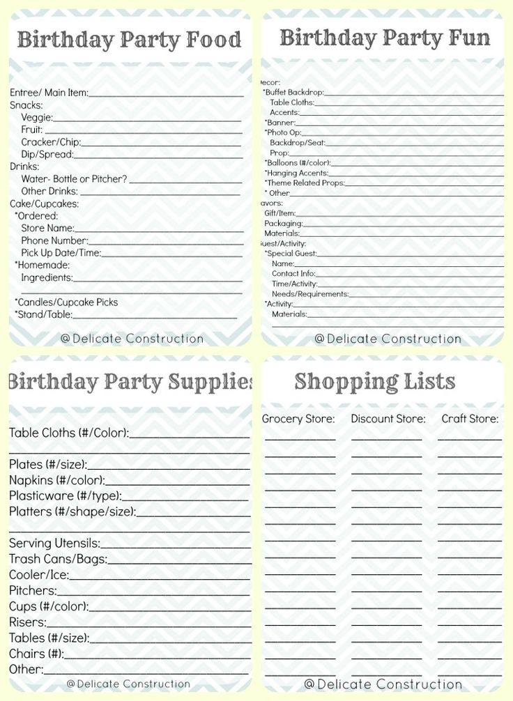 Parasta Ideaa iss Birthday Party Checklist
