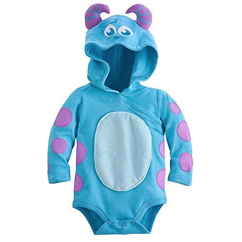 Disney Sulley Monsters Inc Baby Halloween Costume Bodysuit Hooded Size 36 Months