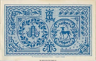 old french pattern dog monograms cross stitch point de croix grille pattern chart