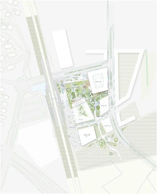 Town Hall and Health Center / Henning Larsen Architects,site plan