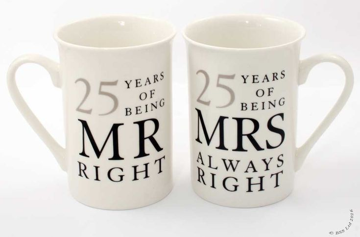 Show details for 25th Anniversary Gift Set of 2 China Mugs 'Mr Right & Mrs Always Right'