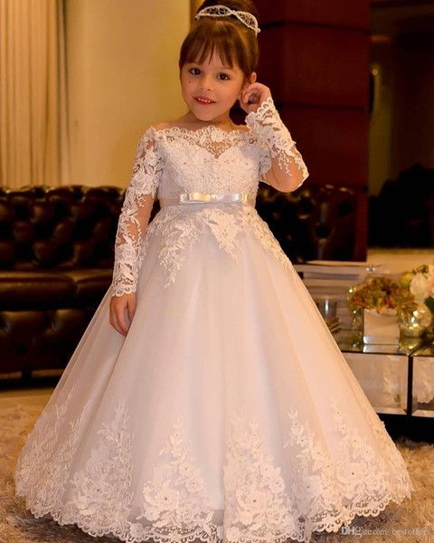 77d029c927 Elegant Full Lace Flower Girl Dresses 2017 Junior Bridesmaid Dresses Floor  Length Kids Party Prom Dress