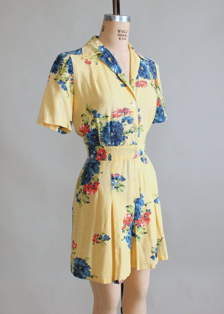 1940s Blue Rose Playsuit with Skirt