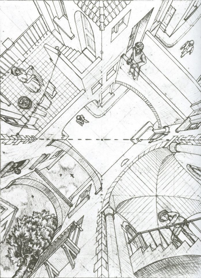 """M. C. Escher Second Version of """"Up and Down"""". 1947 Pencil"""