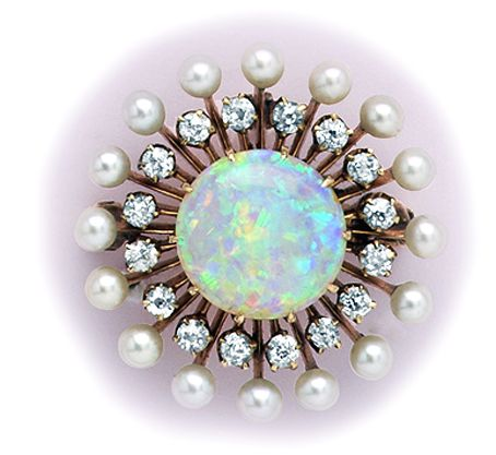 Edwardian Opal, Diamond, Natural Pearl And Gold Pendant/Brooch