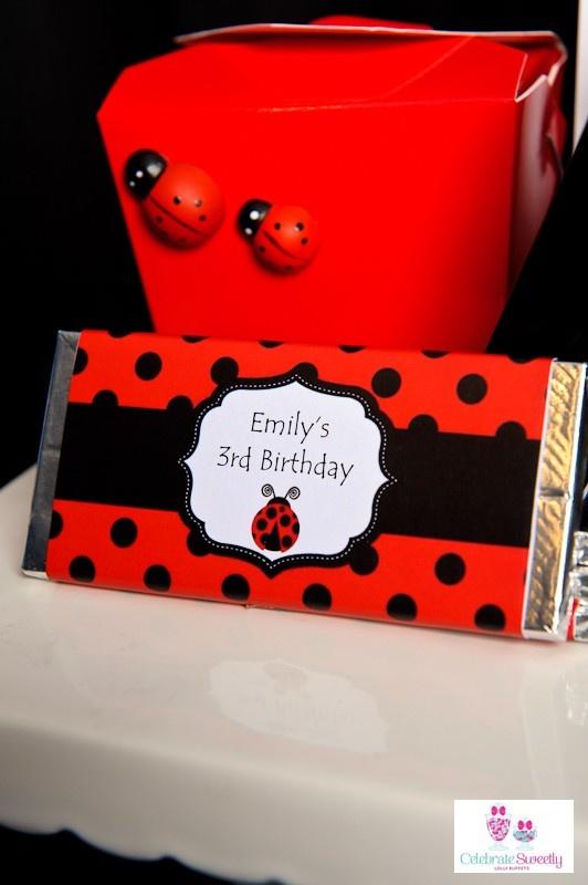 Ladybug / Ladybird printable personalised chocolate wrapper