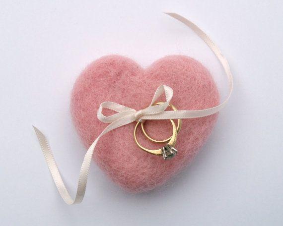 felt heart ring pillow (by fairyfolk weddings) #handmade #wedding #ring-pillow