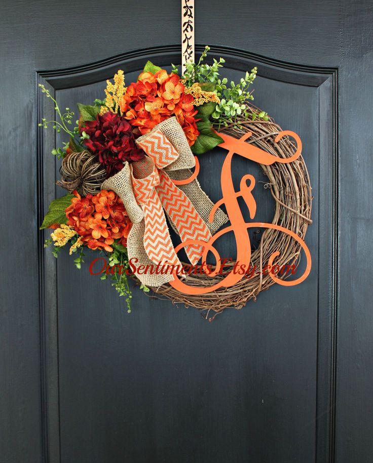 Fall Grapevine Wreath- Monogram Wreaths for door -  Wreath - Door Wreaths - Fall…