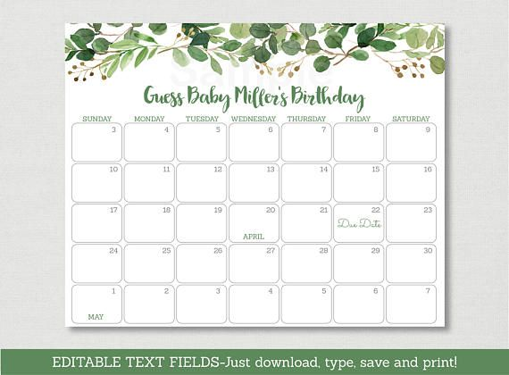 ► MATCHING ITEMS ♥ www.etsy.com/shop/LittlePrintsParties?search_query=A178 Welcome! This adorable Birthday Predictions Calendar is a great way to kick off the fun at your Baby Shower & guaranteed to be a huge hit! Our original & professionally designed Due Date Calendars can be