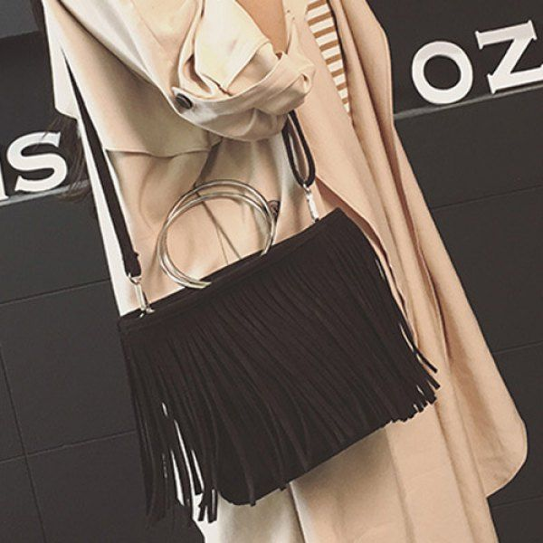 Retro Metal Ring Faux Suede Fringe Bag #>=#>=#>=#>=#> Click on the pin to check out discount price, color, size, shipping, etc. Save and like it!