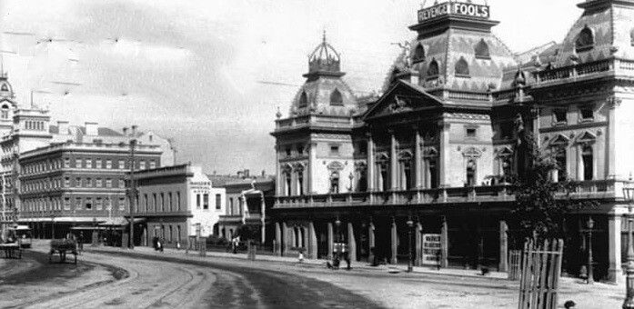 Spring St,Melbourne looking south in the 1880s.