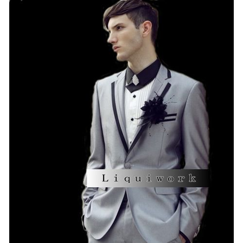 Unique black male in grey and blush suit Italian Designer Silver Gray Grey Slim Fit Prom Wedding TuxedosWedding