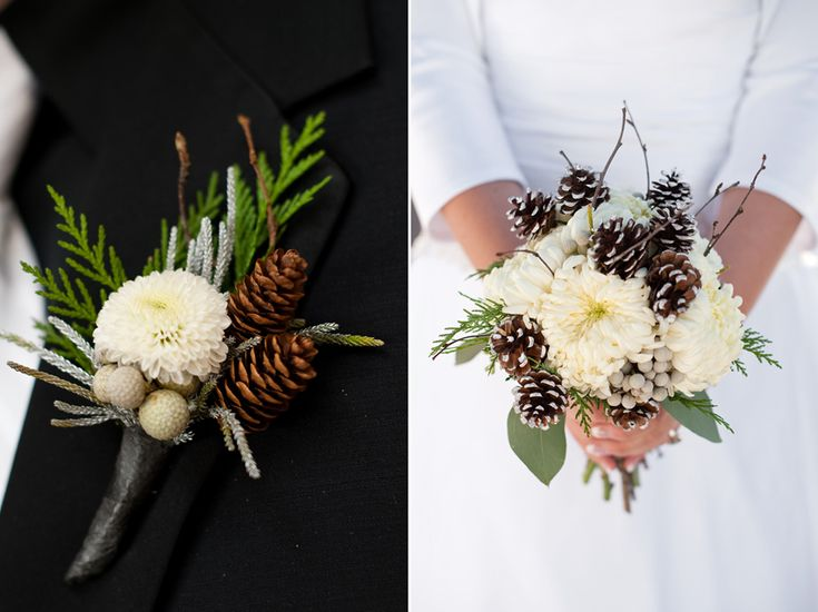 Dahlias Or Mums As Central Flower Pine Cones Evergreens Silver Brunia Berries And Birch Twigs Make Up These Winter Wedding Flowers Karin Newstrom