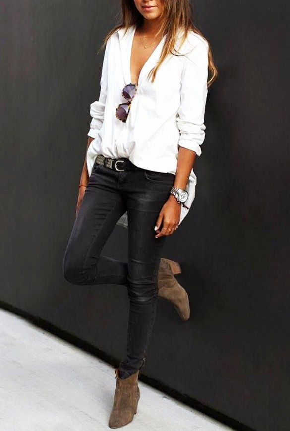 white shirt + black pants + suede ankle boots