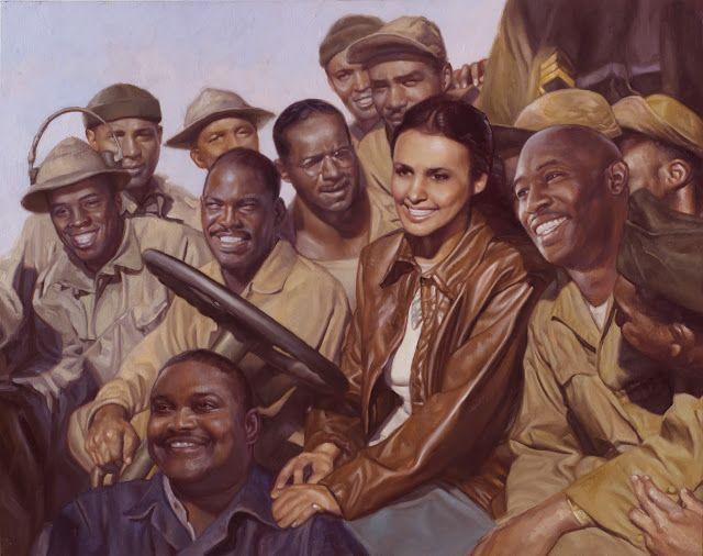 """""""Орлы летать с голубем"""" картон, масло, 22""""х28"""", 2013   Лена Хорн был очень популярен среди черных и белых военнослужащих и выступили в прямом эфире несколько УСО туры. Однако, после того, как черный припой не были допущены на ее концерты и вынужден сесть за немецкой тюрьмы в другую, она расстроилась, как Африканский Американские военнослужащие относились и вовсе выйти из туров. Вместо этого, она оплатила свой способ выполнения для солдат на Западе и на юге, заплатив несколько посещений и…"""