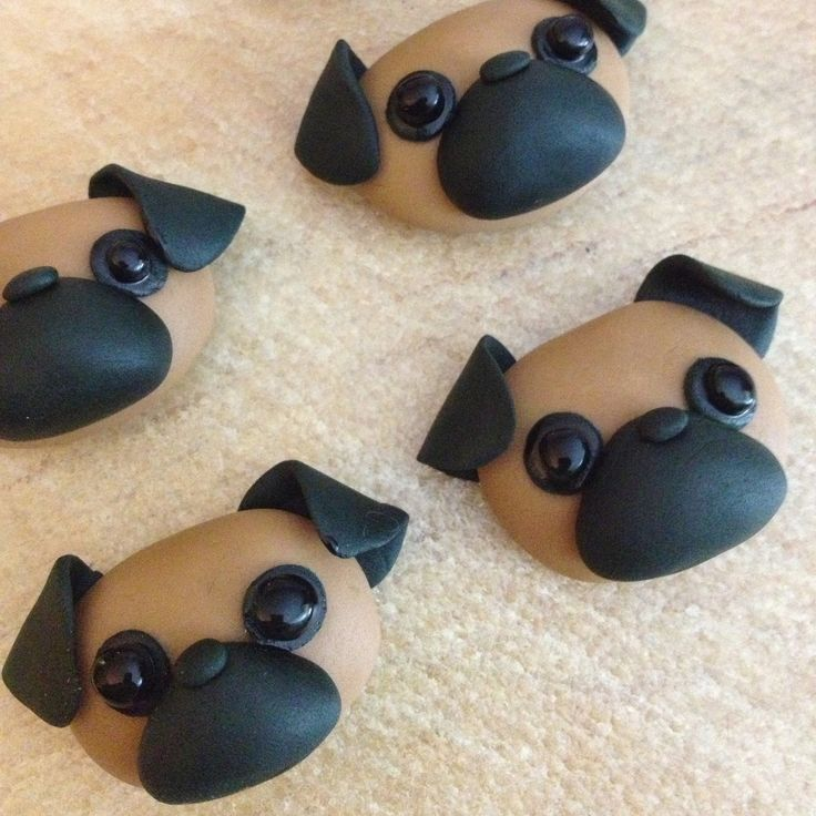pug dog cupcake topper inspiration DIY hoe cute!