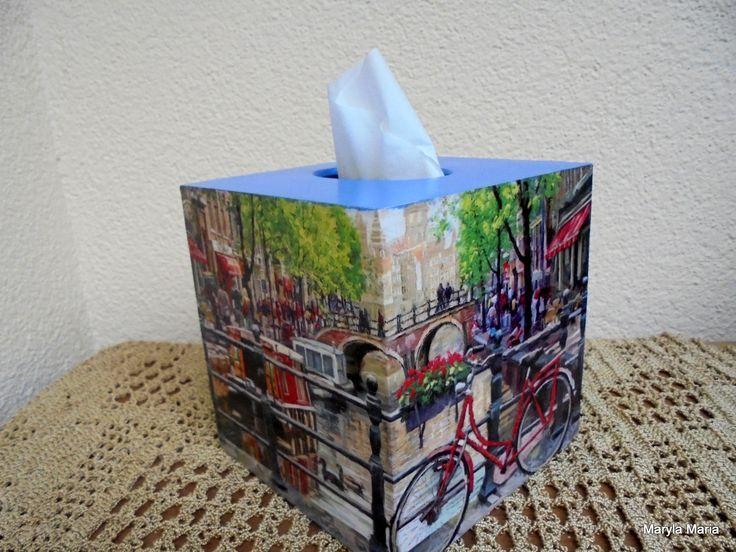Hobby - mój decoupage / pudełko na jednorazowe chusteczki / chustecznik // Hobby - my decoupage / box for disposable wipes / handkerchief
