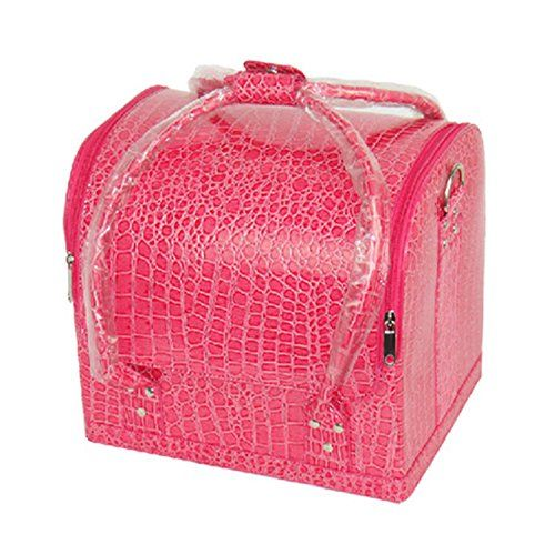 HOYOFO Rolling Travel Cosmetic and Makeup Train Case,Rose Red >>> Continue to the product at the image link.