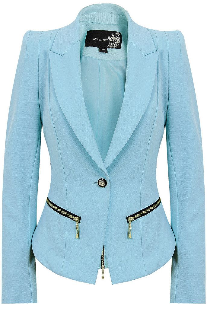 Tori's powder blue jacket