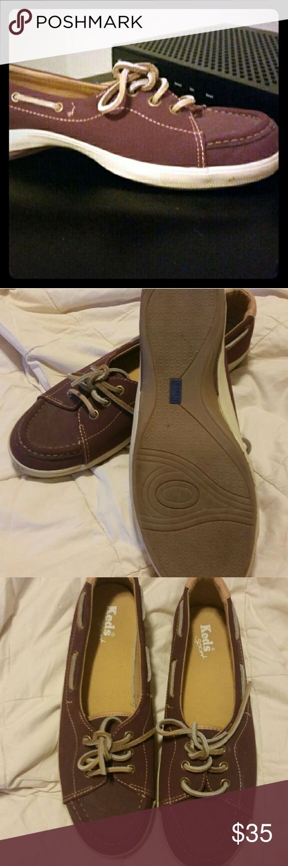 Keds dock shoes Rust burgundy colored keds never been worn dock shoes. Keds Shoes Sneakers