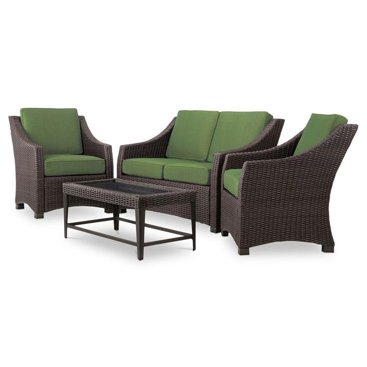 Belvedere 4-Piece Wicker Patio Conversation Set - Green - Threshold